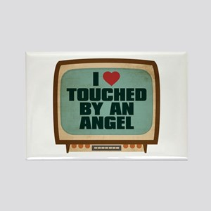 Retro I Heart Touched by an Angel Rectangle Magnet