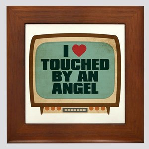 Retro I Heart Touched by an Angel Framed Tile