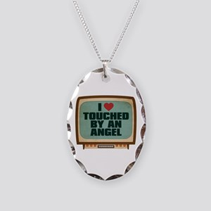 Retro I Heart Touched by an Angel Necklace Oval Ch