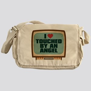 Retro I Heart Touched by an Angel Canvas Messenger
