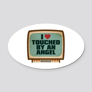 Retro I Heart Touched by an Angel Oval Car Magnet