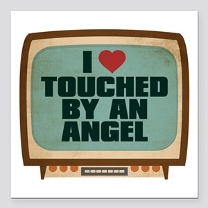 Retro I Heart Touched by an Angel Square Car Magne