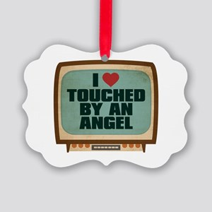 Retro I Heart Touched by an Angel Picture Ornament