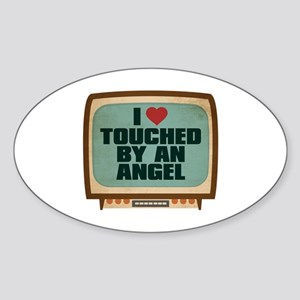 Retro I Heart Touched by an Angel Oval Sticker