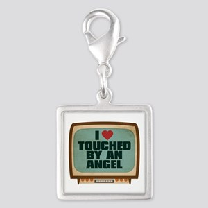Retro I Heart Touched by an Angel Silver Square Ch