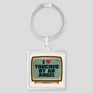 Retro I Heart Touched by an Angel Square Keychain