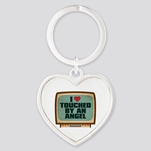 Retro I Heart Touched by an Angel Heart Keychain