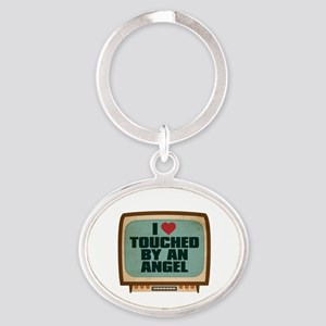 Retro I Heart Touched by an Angel Oval Keychain