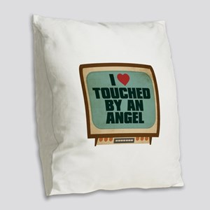 Retro I Heart Touched by an Angel Burlap Throw Pil