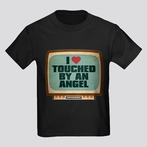 Retro I Heart Touched by an Angel Kids Dark T-Shir
