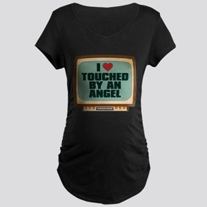 Retro I Heart Touched by an Angel Dark Maternity T