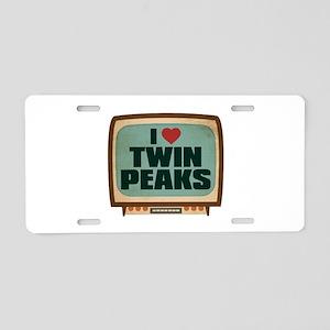 Retro I Heart Twin Peaks Aluminum License Plate