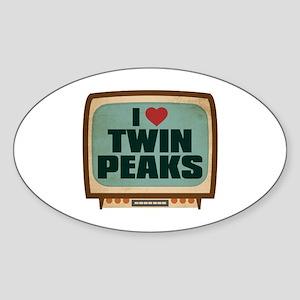 Retro I Heart Twin Peaks Oval Sticker