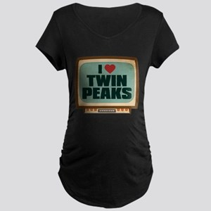 Retro I Heart Twin Peaks Dark Maternity T-Shirt
