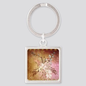 Wonderful flowers , colorful design Keychains