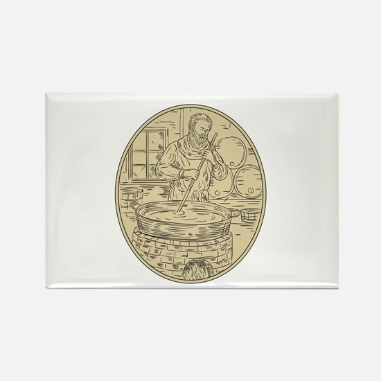 Medieval Monk Brewing Beer Oval Drawing Magnets