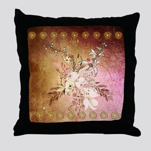 Wonderful flowers , colorful design Throw Pillow