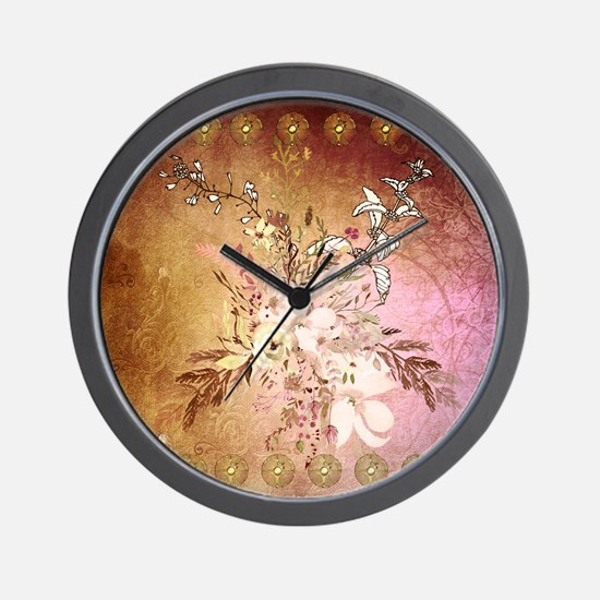 Wonderful flowers , colorful design Wall Clock