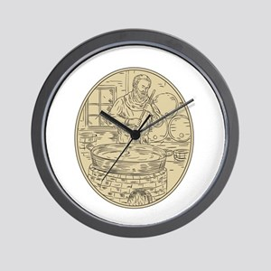 Medieval Monk Brewing Beer Oval Drawing Wall Clock