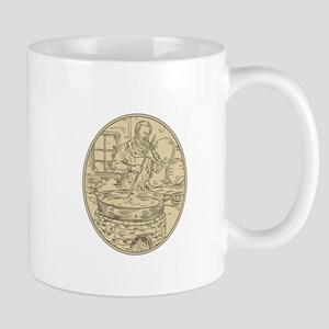 Medieval Monk Brewing Beer Oval Drawing Mugs