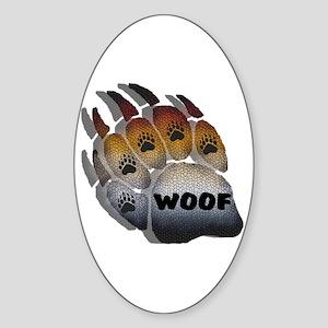 wOOF FURRY BEAR PRIDE PAW Oval Sticker