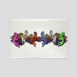 Colorful Kokopelli Banner Rectangle Magnet