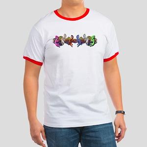 Colorful Kokopelli Banner Ringer T