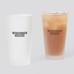 WISCONSIN soccer-fresh gray Drinking Glass