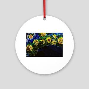 Blacklight Sunflowers Ornament (Round)
