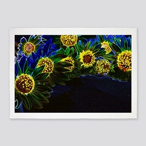 Blacklight Sunflowers 5'x7'Area Rug