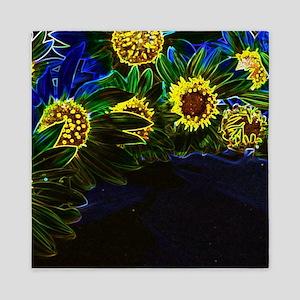 Blacklight Sunflowers Queen Duvet