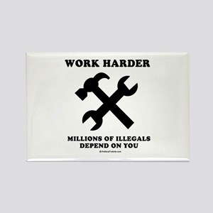 Work Harder, Millions depend on you Rectangle Magn