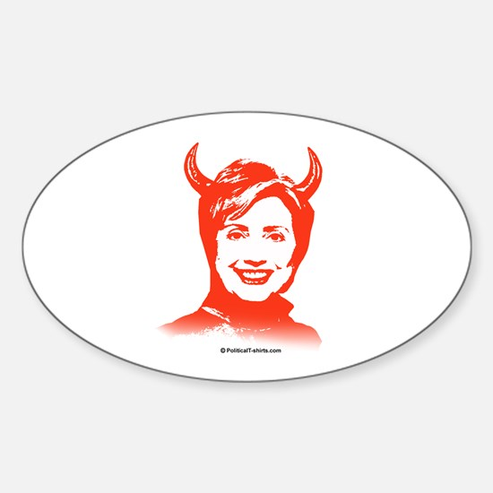 Anti-Hillary: Hillary is the Devil Oval Decal