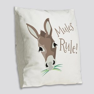 Mules Rule Burlap Throw Pillow
