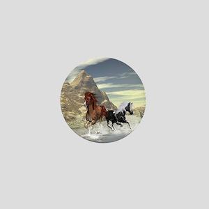 Running horses Mini Button