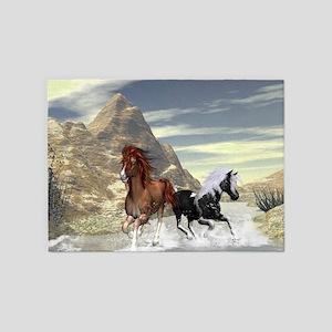 Running horses 5'x7'Area Rug
