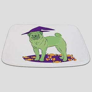 Have a GREEN HALLOWEEN! pug dog Bathmat