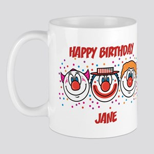 Happy Birthday JANE (clowns) Mug