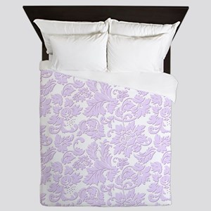 Elegant lavender and white vintage flo Queen Duvet