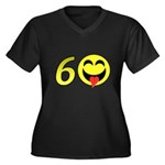 60 Women's Plus Size V-Neck Dark T-Shirt
