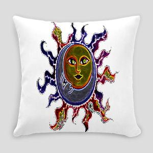 Neon Sun Moon Everyday Pillow