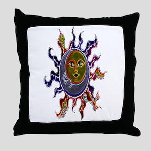 Neon Sun Moon Throw Pillow