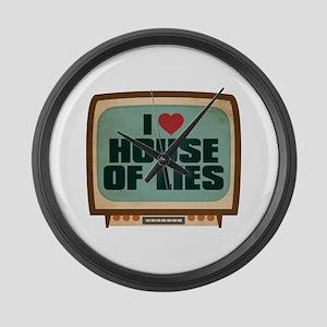 Retro I Heart House of Lies Large Wall Clock