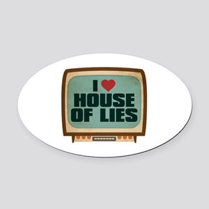 Retro I Heart House of Lies Oval Car Magnet