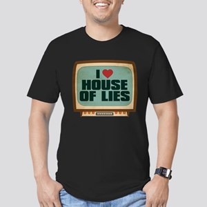 Retro I Heart House of Lies Men's Dark Fitted T-Sh