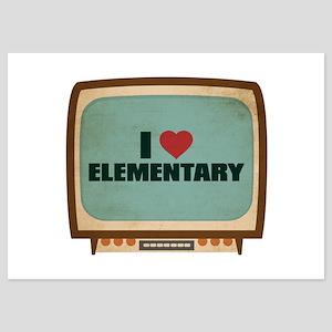 Retro I Heart Elementary 5x7 Flat Cards