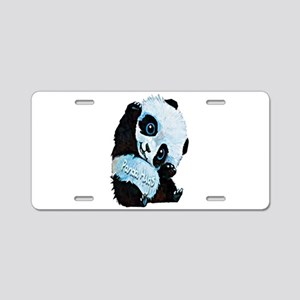 Panda Hugs Aluminum License Plate