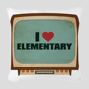 Retro I Heart Elementary Woven Throw Pillow