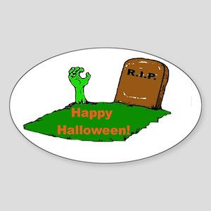 Halloween Grave Oval Sticker
