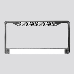 Elegant Black And White Floral License Plate Frame